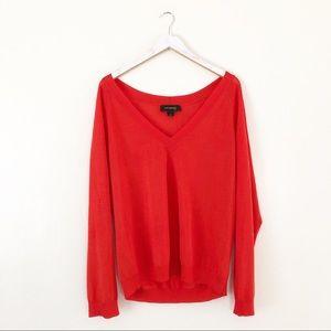 St. John Orange Wool blend V neck Long Sleeve Top